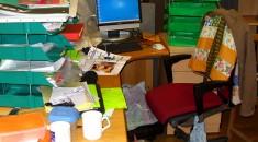 messy desk.