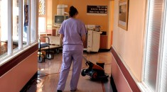 female cleaner in a hospital