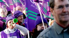 UNISON members on march. Pete Jenkins