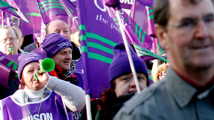 UNISON members on march. Pete Jenkins