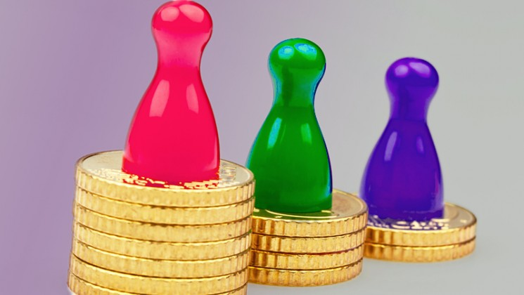 counters on top of gold coins