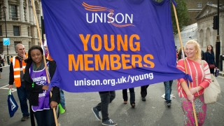 Young members, banner, march, October 20, female, London
