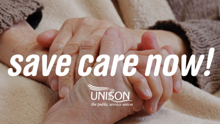 hands with 'save care now UNISON' text