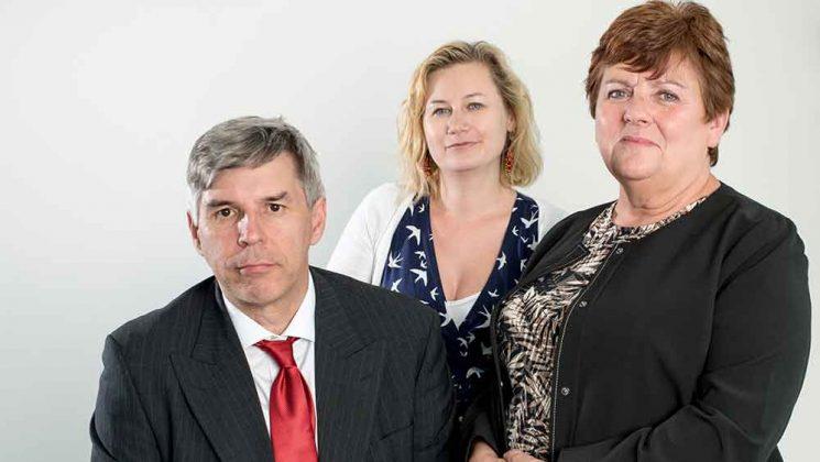 portrait photograph of senior vice president Gordon McKay, junior vice president Josie Bird and president Margaret McKee