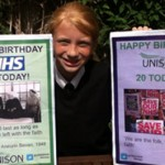 Megan Eccles who will be celebrating her 12th birthday on the same day as UNISONs 20th birthday on 1st July