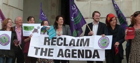 Demonstrators at Stormont
