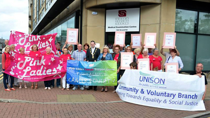 Members of UNISON join Pink Ladies campaigners outside an ATOS assessment centre