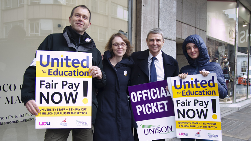 Dave Prentis with pickets at the London School of Fashion