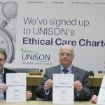 Signing up (l-r): Andrew Pickup, MD Optalis, Bob Pitts, chairman Optalis, Heather Wakefield, head of local government UNISON