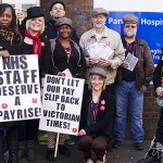 Members at St Pancras Hospital were joined by MP Jeremy Corbyn as they called for fair pay Photo: Amanda Kendal