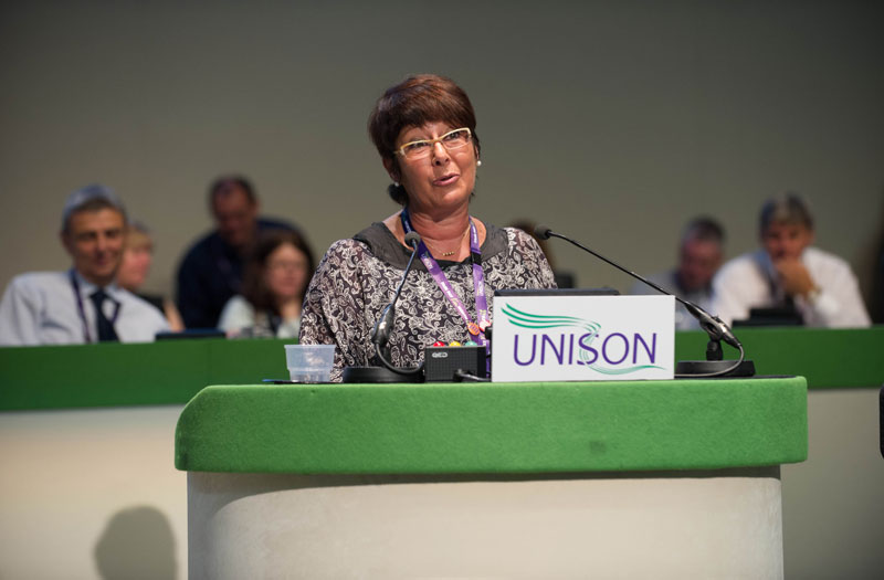 Rosa Pavanelli, general secretary of PSI addresses delegates in Brighton. Photo: Marcus Rose / Workers' Photos.