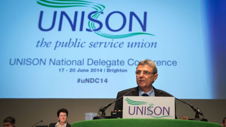 Dave Prentis addresses the NDC in Brighton. Photo: Steve Forrest / Workers' Photos