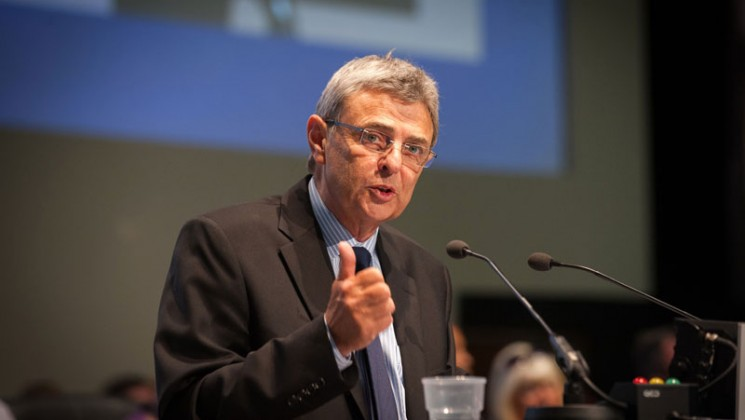 Dave Prentis addresses NDC. Photo: Steve Forrest / Workers' Photos