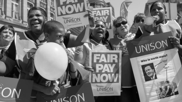 Workers protest against unfair pay
