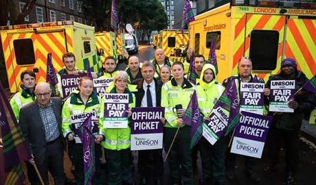 Dave Prentis stands with ambulance crew and ambulances from the London Ambulance Service