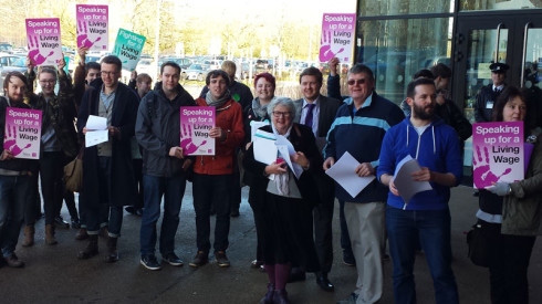 Protesters with UNISON living wage campaign placards at University of Bath