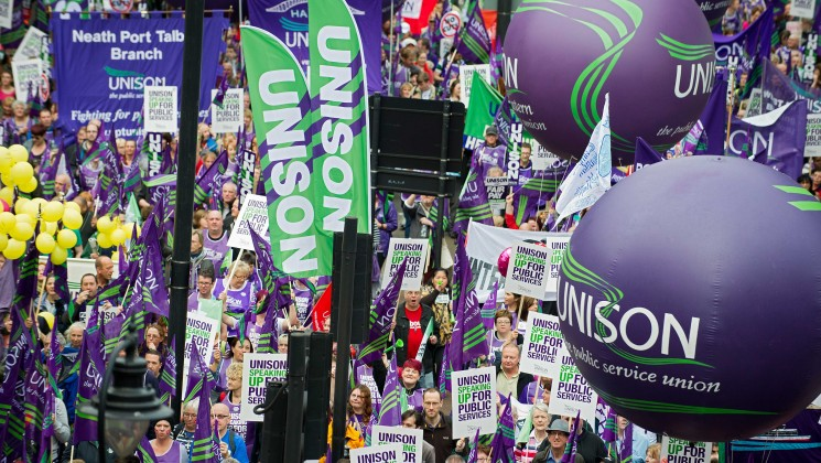 lots of UNISON members at a demonstration