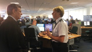 Dave Prentis meeting police staff members in South Yorkshire