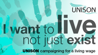 UNISON campaigning for a living wage graphic