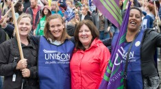 female UNISON members smiling