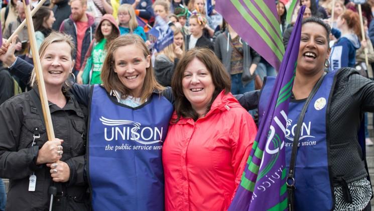female UNISON members smiling