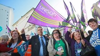 Dave Prentis and Christina McAnea join Brighton junior doctors' rally. Photo: Matt Alexander
