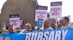 Student nurses joined the People'S Assembly march and rally in London to protest against government plans to axe the NHS bursary