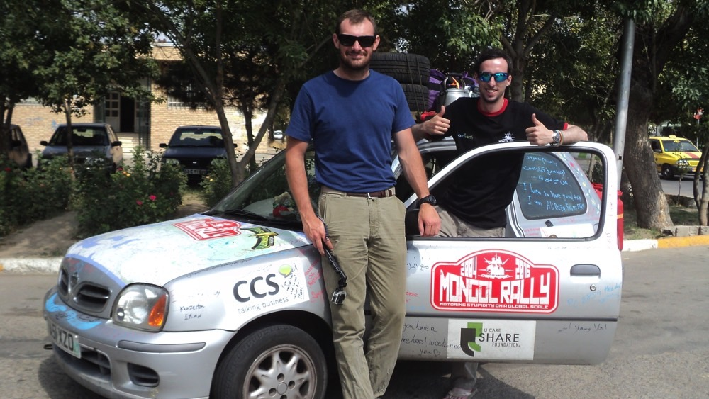 Nathan (right) and Richard with their oddly-named car