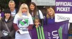 Head and shoulders photo of Dave Prentis and striking Derby teaching assistants