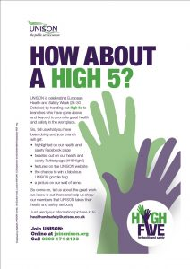 UNISON health and safety high 5 poster