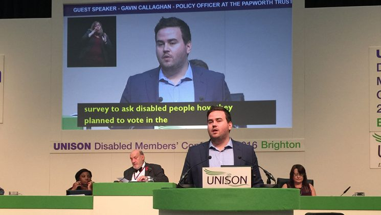 Pap worth Trust policy officer Gavin Callaghan addressing UNISON's disabled members' conference 2016 in Brighton.