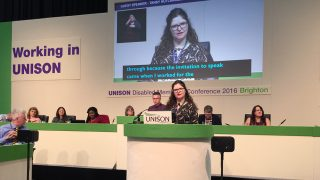 Tansy Hutching, guest speaker at UNISON disabled members' conference 2016
