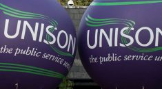 Close up of balloons with the UNISON logo