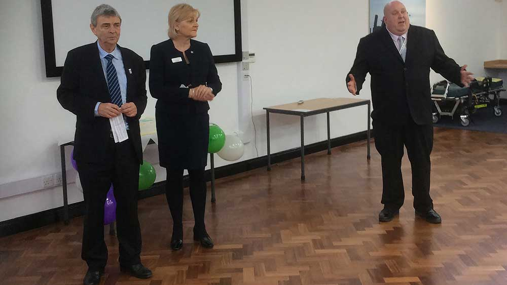 Eastern region convenor Darren Barber pictured speaking at the opening ceremony as UNISON general secretary Dave Prentis and NHS trust chief executive Dorothy Hosein watch on