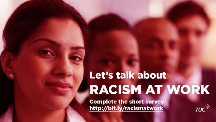 TUC graphic with faces of Black people and slogan 'let's talk about racism at work'
