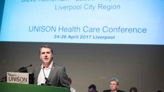 Steve Rotheram speaking to UNISON health conference