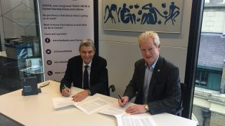 Dave Prentis, UNISON General Secretary signs recognition agreement with Chief Exec of UK's biggest housing association, Clarion