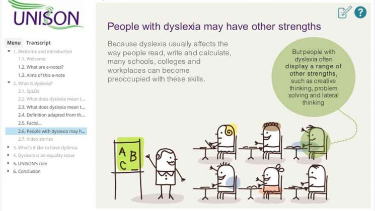 screengrab of dyslexia online learning module