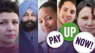 Montage of faces and pay up now logo