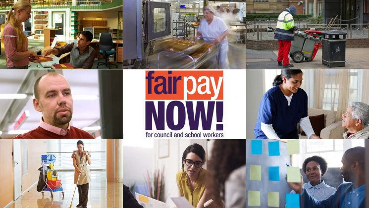 Council and school workers and the Fair Pay now logo