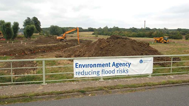 Flood defence works being carried out by the Environment Agency