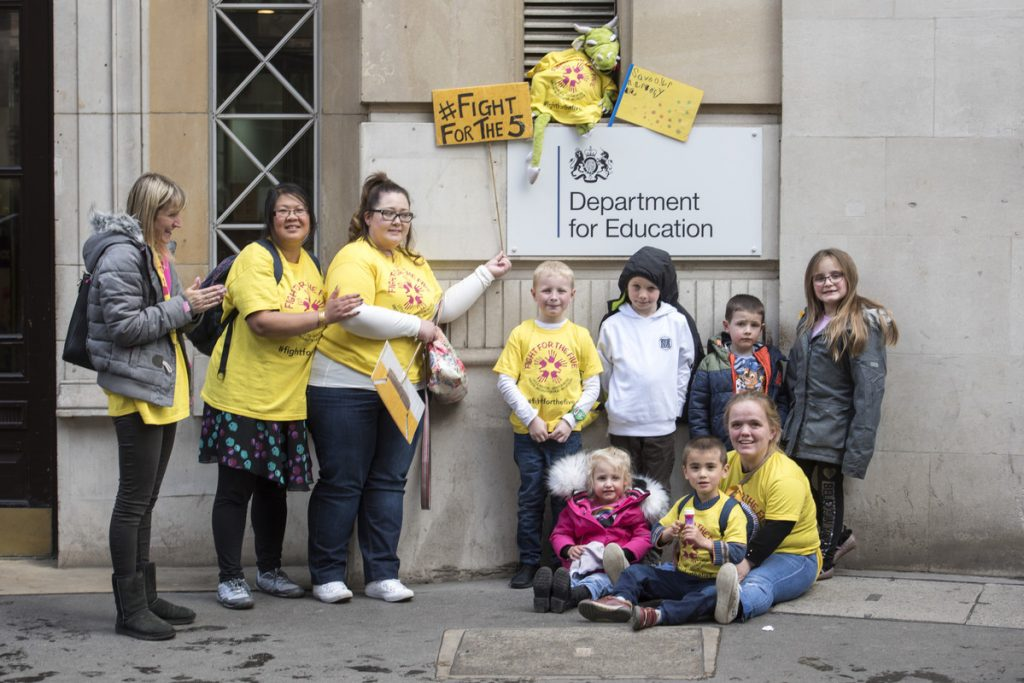 campaigners outside the department for education