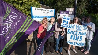 picket line at Royal Albert Edward Infirmary, Wigan