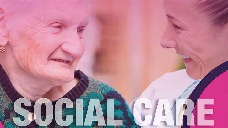 Elderly woman and carer, with words 'social care' image from cover of report