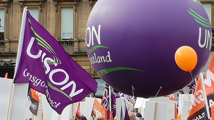 UNISON balloon and flag on the 23 October Glasgow equal pay march