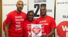 Footballers wearing show racism the red card t shirts