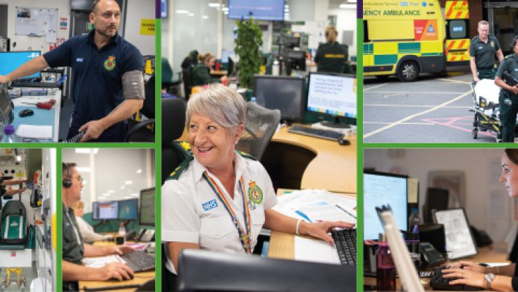 Various images of ambulance workers