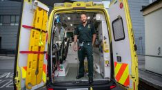 Paramedic in the back of an ambulance