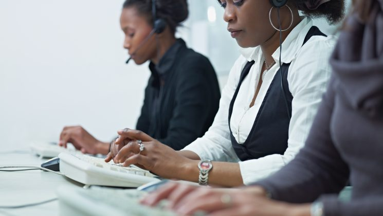 Women working in a call centre