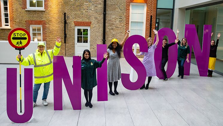 UNISON in large letters with public sector workers